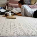 ラグ ラグマット【カレン/185×185cm(Mサイズ/約2畳相当)】カーペット 絨毯 洗える ホットカーペット 防ダニ 北欧 軽量 レトロ 大人可愛い 新生活国産 日本製