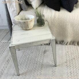 サイドテーブル 木製 アンティーク調 レトロ シャビーシック ディスプレイ 花台 ホワイト 幅33 高30.5 奥34.5 送料無料