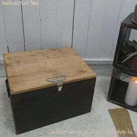 木箱 ふた付き 収納ボックス アンティーク インダストリアル カラーボックス カリフォルニア インテリア 雑貨 取っ手付き 英文字 ブラック 手作り 送料無料