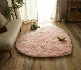 シャギーラグ ハート型 洗える 滑り止め ホットカーペット対応 AG抗菌加工 150×130cm ピンク
