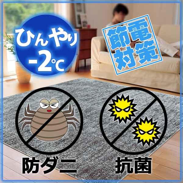 ラグ・カーペット・絨毯・マット冷感ラグで省エネ対策! −2度AQUAラグ スーパークールストリームDGY(ダークグレー)190×240cm
