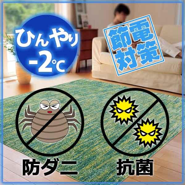 ラグ・カーペット・絨毯・マット冷感ラグで省エネ対策! −2度AQUAラグ スーパークールストリームSGN(スコールグリーン)190×240cm