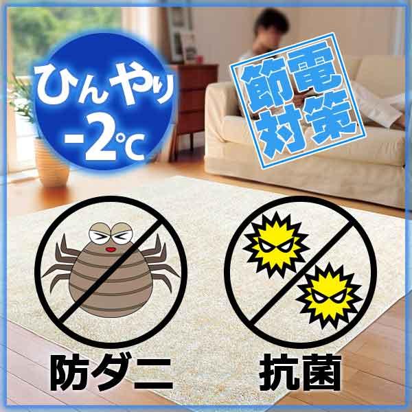 ラグ・カーペット・絨毯・マット冷感ラグで省エネ対策! −2度AQUAラグ スーパークールストリームPBE(パールベージュ)190×190cm