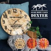 【送料無料_a】壁掛け時計おしゃれ掛け時計OSB合板木目ガラスドームウォールクロック直径32cm