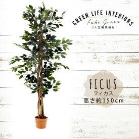 【送料無料_d】人工観葉植物 大型 フェイクグリーン インテリア 造花 フィカス 150cm