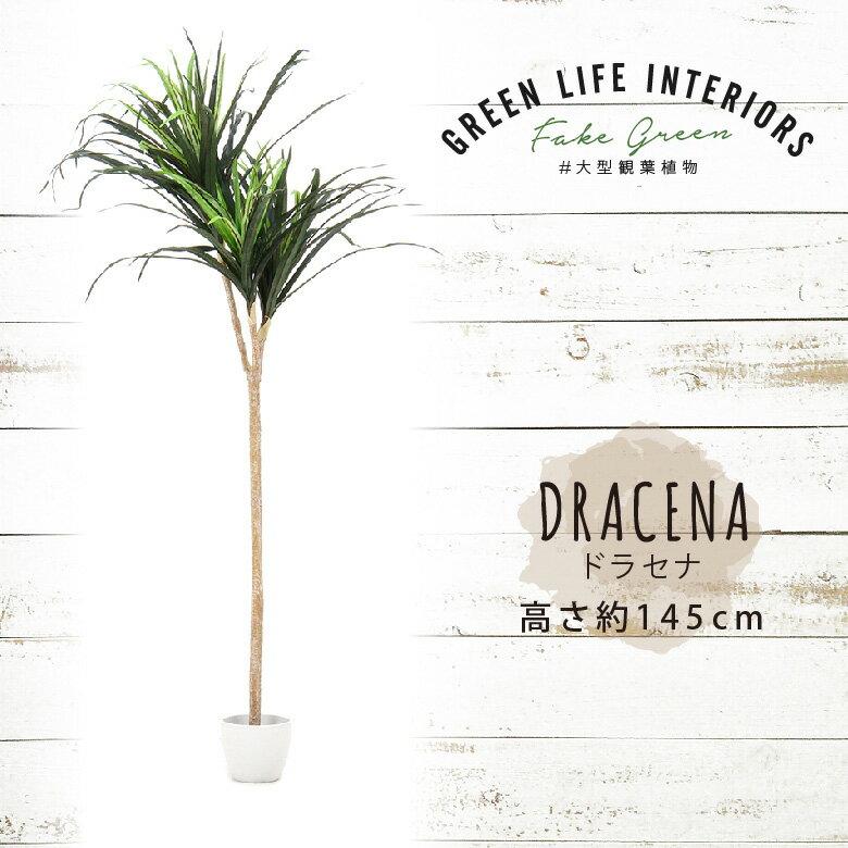 【送料無料_c】人工観葉植物 大型 フェイクグリーン インテリア 造花 ドラセナコンシンネ 145cm