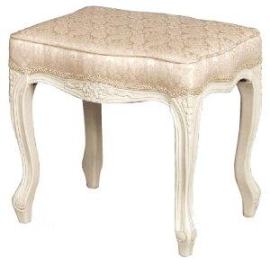 フィオーレ スツール 布張り 背もたれなし 【送料無料】 おしゃれ 木製 完成品 チェア 椅子 sa-c-1470-w4 ホワイト 白家具 家具 輸入家具 sac-1470-w4 sac-1470w4 いす イス 姫系 ロココ オットマン Fiore