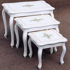 【送料無料】 コーヒーテーブル ネストテーブル コモ お姫様家具 白家具 クラック塗装 関西 大阪 難波