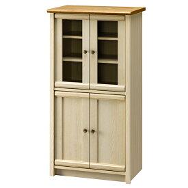 食器棚 幅60 カントリー調 ガラス扉 キャビネット フリーラック 木製
