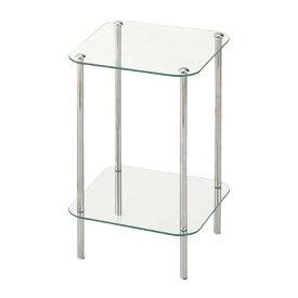 サイドテーブル ガラス おしゃれ 正方形 小型 シンプル テーブル ガラスラック