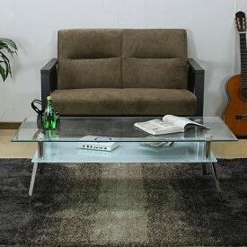 センターテーブル ガラス 棚付 テーブル GTO-120 幅120 奥行60 ホワイト 白 ブラック 黒 ガラス製 ローテーブル ガラステーブル 新生活 一人暮らし 二重 棚付 リビングテーブル 居間 洋室 送料無料 RI-L1