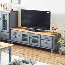 フレンチカントリー家具 テレビボード 完成品 幅120 ブルーグレー 手作り ナチュラル 北欧カントリー風 カントリー調