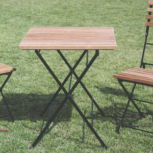 ジャービス商事 FOLDING IRON TEAK TABLE 折り畳みアイアンチークテーブル チーク/アイアン 無塗装 34219 1台