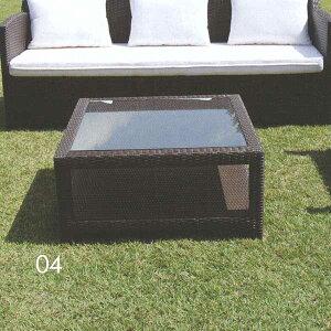ジャービス商事 人工ラタンNH-2050シリーズ ガラスエンドテーブルNH-2050Z アルミ/人工ラタン/ガラス ブラウン系 38704 1台