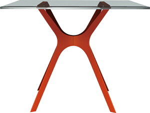 D.d ベラテーブル 80×80/ガラス天板+レッドベース W800×D800×H725mm