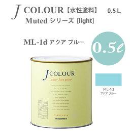 ターナー色彩 壁紙に塗れる水性塗料 Jカラー Muted シリーズ light ML-1d アクア ブルー 0.5L
