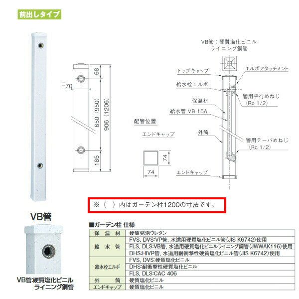 タキロン ガーデン柱70mm角 GDチュー 290401 みかげ 前出しタイプ 型式:FLS-1200 10本