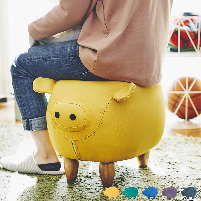 座れる アニマル スツール ブタ チェア イス オットマン 腰掛け 背もたれなし 一人掛け 1人掛け 1P 豚 ぶた 椅子 足置き おしゃれ 可愛い かわいい 北欧 プレゼント ブタ雑貨 母の日 こどもの日 スティーブ ピッグ pig 動物 works