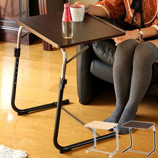 サイドテーブル 折りたたみ 昇降式テーブル 折り畳みテーブル おしゃれ 送料無料 完成品 高さ調節 角度調節 折り畳み 机 北欧 モダン リビング用 寝室用 ナイトテーブル シンプル コンパクト ナチュラル ブラウン works