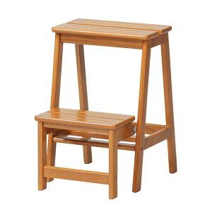 踏み台 2段 stc-2収納 踏み台 背もたれなし 木製 天然木 ステップチェア スツール チェア 椅子 イス いす きゃたつ 脚立 昇降台 ブラウン 階段 玄関 大掃除 キッチン用 コンパクト works