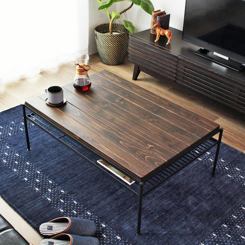 リビングテーブル 無垢 ヴィンテージ センターテーブル ローテーブル 北欧 幅90 完成品 コーヒーテーブル 収納付き 天然木 アイアン ビンテージ エイジング加工 パイン材 木製 おしゃれ 即納 viande ヴィアンデ iw-503 works