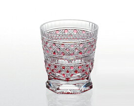 【カガミクリスタル】 江戸切子 〈八角籠目 紋〉 冷酒杯 (赤) 100cc