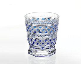 【カガミクリスタル】 江戸切子 〈八角籠目 紋〉 冷酒杯 (青) 100cc