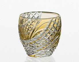 【カガミクリスタル】 江戸切子 〈魚子流し 紋〉 冷酒杯 (黄) 80cc