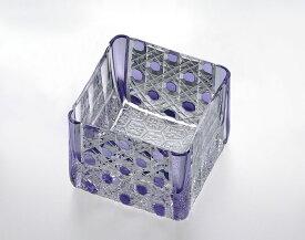 【カガミクリスタル】 江戸切子 〈八角籠目 紋〉 升グラス 70cc  (亀甲花菱小紋)紫