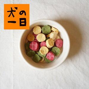 【九州産・三種の野菜クッキー 50g】九州産の野菜パウダー(ビーツ・かぼちゃ・ほうれん草)を使用した小麦粉フリーのクッキー。福岡市内の自社工場で製造している犬のおやつです。【