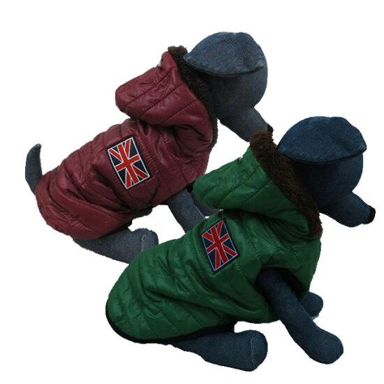 犬服冬ダウン風ジャケットユニオンジャックフード付き小型犬中型犬ドッグウェアボア