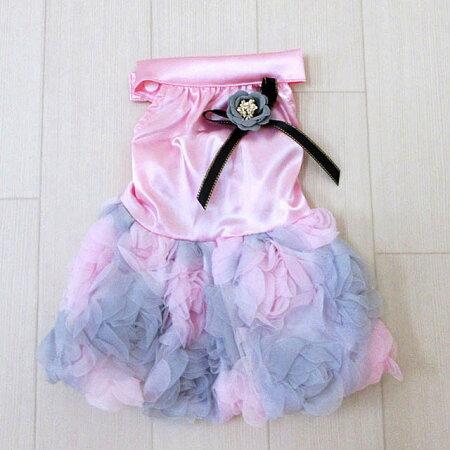 犬服フリルフリフリワンピースドレス薔薇小型犬お花レース高級感結婚式パーティーフォーマルチワワトイプードル