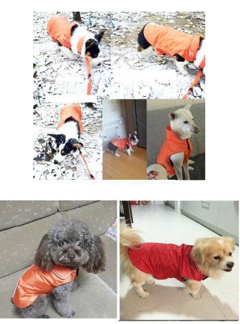 犬服レインコート中型犬大型犬裏地フリース防寒雨具カッパ雪対策全4色春秋冬簡単happier