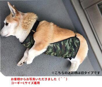 犬・レインコート・コーギー・迷彩柄・中型犬・泥よけエプロン