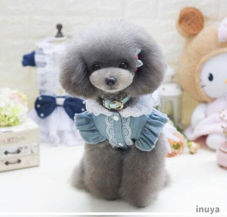 犬猫服可愛いキュートドレスデニムリボンS〜XL小型犬用ドッグウェア春夏