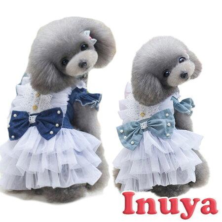 犬猫服可愛いキュートワンピースドレスデニムリボンS〜XL小型犬用ドッグウェア春夏