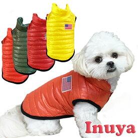 小型犬用 犬服 秋 冬 USA ジャケット フード無し 裏地 フリース 軽量 【M〜XL】ベスト アメリカン ダウン 風 暖か 送料無料 マルチーズ トイプードル パグ