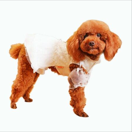 犬服フリルワンピースドレスパール(ピンクパープル)小型犬用