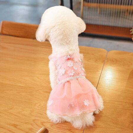 犬服・ワンピース・洋服・ウェディング・ドレス・バラ・ローズ・小型犬用・トイプードル