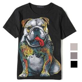 Tシャツ 半袖 メンズ・レディース ルームウェア ブルドッグ 入墨 デザイン イラスト 犬 和柄 (M〜2XL) ch オーナー 犬屋