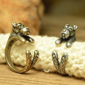 ミニチュアシュナウザー 犬のリング 【指輪】 アンティーク テイスト フリー サイズ メンズ レディース グッズ 犬屋
