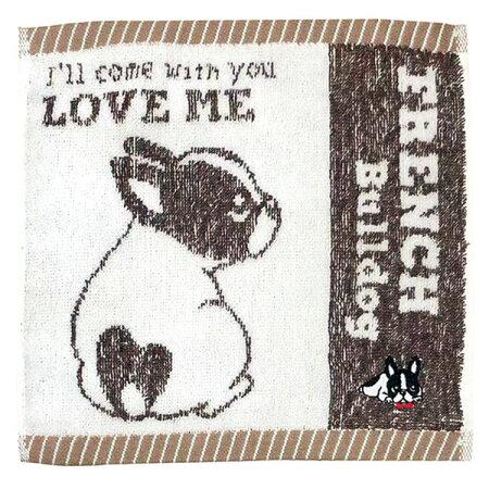 【ジャガードミニタオルフレンチブルドッグブラウン】ハンカチフレブルやわらかプチギフトかわいいパルマート犬屋
