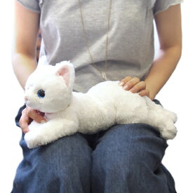 ひざねこ Sサイズ 猫 WH(ホワイト)オッドアイ ぬいぐるみ サンレモン 雑貨 犬屋