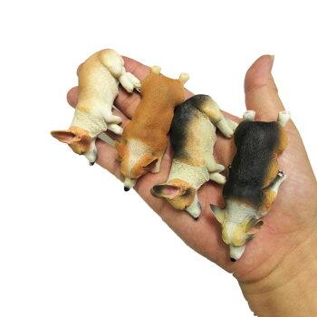 コーギーネムネムマグネット7.8cm伏せ横向き犬各種雑貨グッズポリレジン