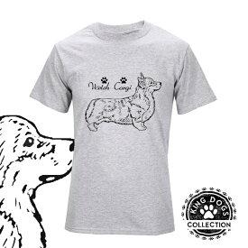 Tシャツ 半袖 コーギー 黒線デザイン メンズ・レディース デザイン イラスト 犬 (S〜L) オーナー 犬屋