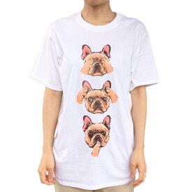 Tシャツ 半袖 三猿 フレブル デザイン フレンチブルドッグ ホワイト メンズ・レディース デザイン イラスト 犬 (S〜L) オーナー 【kingdogs】犬屋