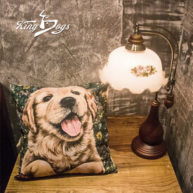 クッション カバー と本体セット 45×45cm ゴールデンレトリバー 背景:緑 雑貨 グッズ kingdogs 犬屋 いぬや