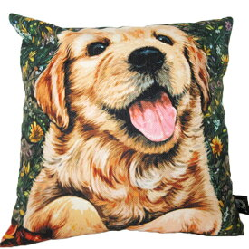 【あす楽】 クッション カバー と本体セット 45×45cm ゴールデンレトリバー【A】 背景:緑 雑貨 グッズ kingdogs 犬屋 いぬや