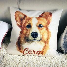 クッション カバー と本体セット 45×45cm コーギー 背景:白 雑貨 グッズ kingdogs 犬屋 いぬや コーギークッション