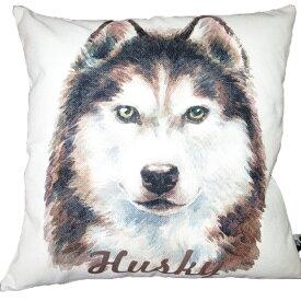 【あす楽】 クッション カバー と本体セット 45×45cm シベリアンハスキー【A】 背景:白 雑貨 グッズ kingdogs 犬屋 いぬや